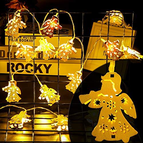 2,2M 20er LED Lichterketten Innen mit Batterie Warmweiß Engel, Deko Weihnachtsbeleuchtung Batariebetrieben für Kinderzimmer Mädchen Junge (NICHT Wasserdicht)