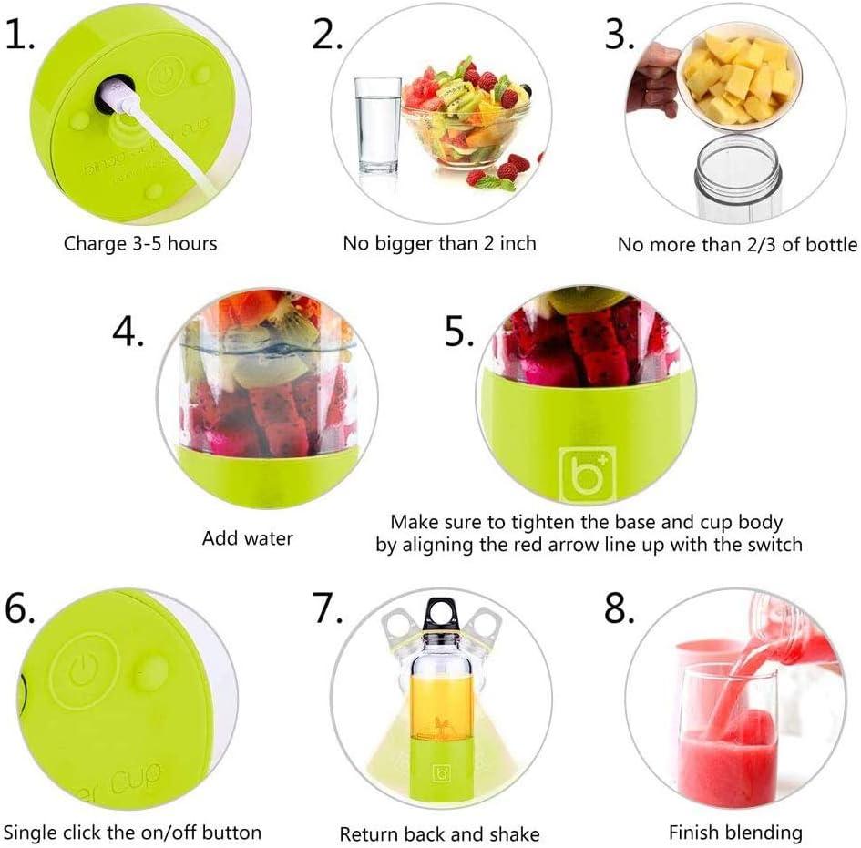 ZHAN YI SHOP Blender Portable, Mini Smoothie Blender 4 Potentes Cuchillas, Multifuncional Personal Blender, 2600mAh Recargable USB Botella Exprimidor Copa (Color : Verde) Verde
