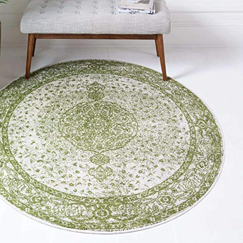 Unique Loom Bromley Collection Vintage Traditional Medallion Border Green Round Rug (5' 0 x 5' 0)