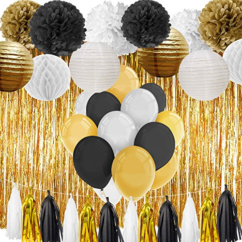 Paxcoo Black and Gold Party Decorations for 18th, 21st, 30th, 40th, 50th, 60th, 75th, 80th Birthday