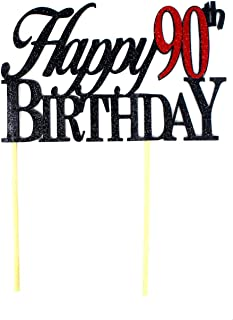 All About Details Happy 90th Birthday Cake Topper,1pc, Cake Decoration, Party Decor, Glitter Topper Multi CATH90B