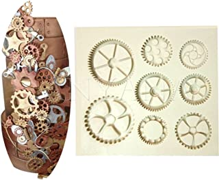 Anyana Steampunk Cogs wheel Gears Pocket Clock watch mould cake Fondant gum paste mold for Sugar paste gumpaste designer cupcake decorating topper decoration sugarcraft decor