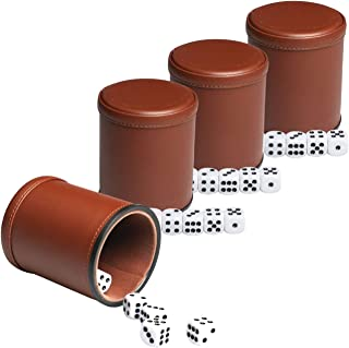 Leather Dice Cup Set Felt Lining Quiet Shaker with 5 Dot Dices for Farkle Yahtzee Games,4 Pack (Brown)