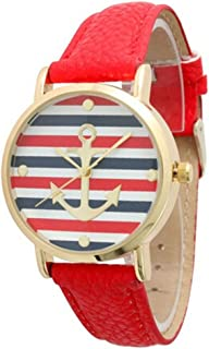 Ryanwayland Women's Geneva Multi Color Striped Anchor Leather Watch (red)