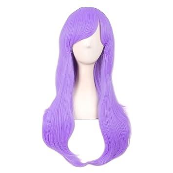 MapofBeauty 28 Inch/70cm Women Side Bangs Long Curly Hair Cosplay Wig (Light Purple)