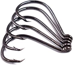 100pcs Size 4#~6/0 Offset Point Octopus Hook with Closed Eye Black High Carbon Steel Sport Circle Hook