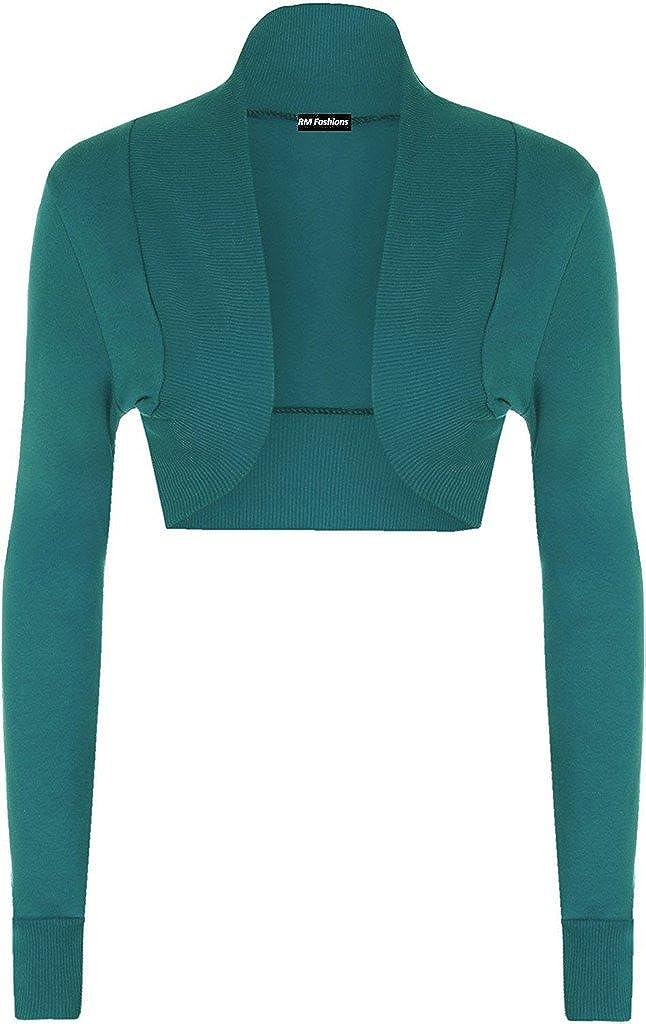 RM Fashions Women's Plain Shrug Long Sleeve Ladies Cotton Bolero Top