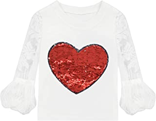 VIPbuy Kid Girls' Reversible Sequin T-Shirt Lace Hollow Out Long Sleeve Tee Top Heart Pattern White