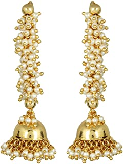 MUCH-MORE Antique Traditional Indian Polki Jhumka/Earring Bollywood Wedding Jewelry for Women.