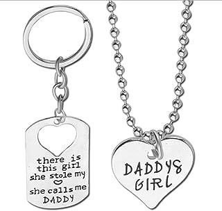 Elistelle Daddy/Daughter Keychain Set Collana, Idea Regalo per la Festa del papà