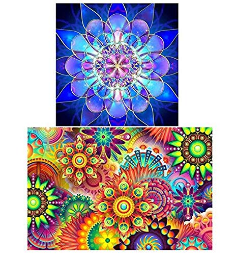 DIY Paint by Numbers for Adults DIY 5D Diamond Painting Kit Art Accessories Full Diamond Combination Kaleidoscope 45x30cm and Mandala Flower 30x30cm for Home Wall Decor