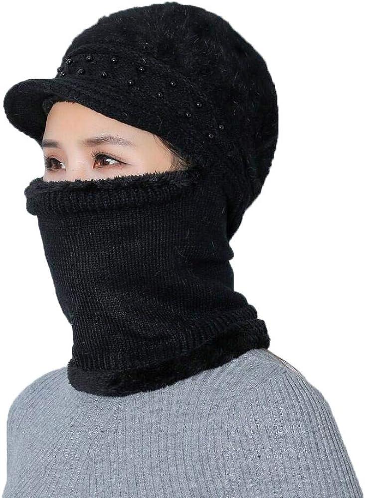 TANGADYL Women Plush Rabbit Fur Knit Hat Warm Winter Hat and Scarf Beret Beanie Hat Ski Casual Headwear