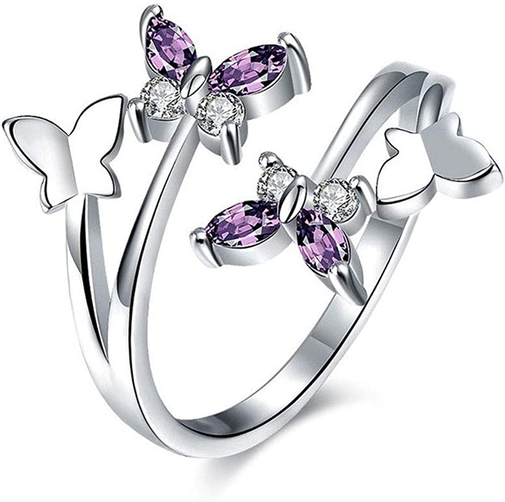 Flzaitian Cubic Zirconia Butterfly Ring Sparkling Crystal Bow-Knot Knuckle Ring Women's Butterfly Opening Rings
