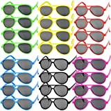 MEJOSER 24 STK und 6 Farbe Party Sonnenbrille Lustige Retro Neon Brillen Pilotbrille Flieger Brille...