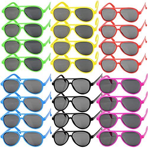 MEJOSER 24 STK und 6 Farbe Kinder Party Sonnenbrille Lustige Retro Neon Brillen Pilotbrille Flieger Brille Brille für Kostüm Fashion Abschlussfeiertage Geburtstagsfeier