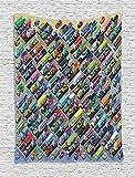 ABAKUHAUS Coches Tapiz de Pared, Aparcamiento Detallada Vibrante, para el Dormitorio Apto Lavadora y Secadora Estampado Digital, 100 x 150 cm, Multicolor