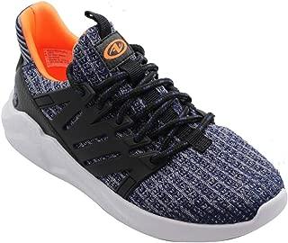 Boys Lightweight Knit Heel Profile Walking Running Shoe, Navy Grey Orange (5 Big Kid)