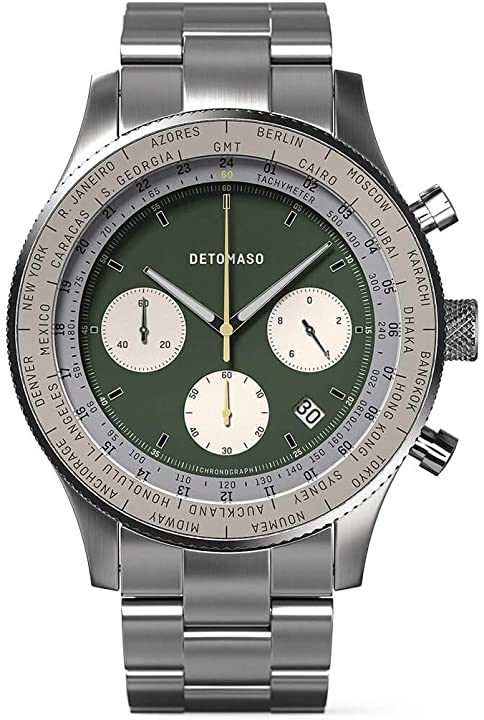 Detomaso firenze - cronografo da uomo, analogico, al quarzo, cinturino in rete, colore: argento D08-01-10