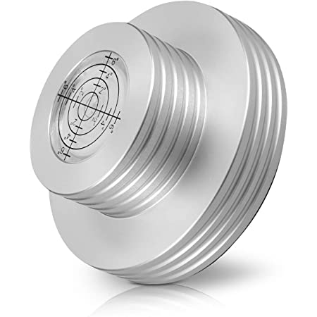 kwmobile Stabilizzatore per giradischi - Stabilizzatore con livella in alluminio fino a 7mm - vinyl record stabilizer argento - con base in feltro