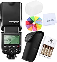 Godox TT600 GN60 2.4G Wireless X System Camera Flash Speedlite with FB 4AA Rechargeable Batteries&Charger Compatible for Nikon, Canon,Pentax,Olympus,Fuji and Other DSLR Camera