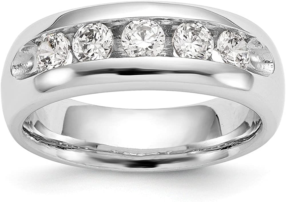 Denver Mall Solid 14K White Gold Five Stone Surprise price Wedding Diamond Channel Band Set