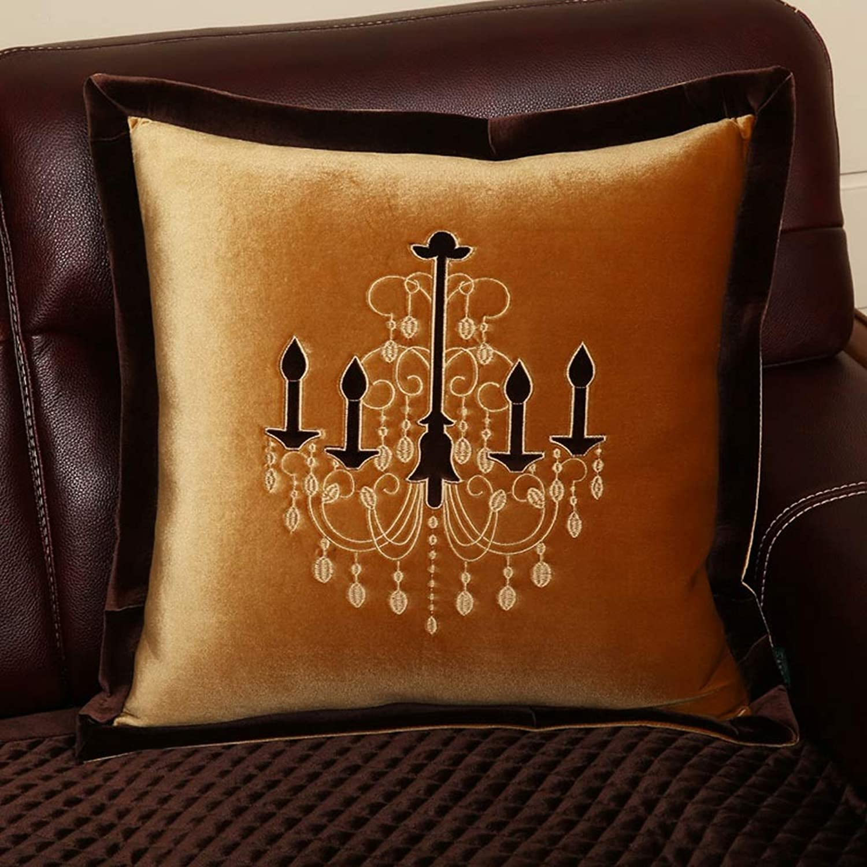 Oreiller de Bureau en Peluche avec Coussins décoratifs pour la Maison - Amovible et Lavable HBJP (Couleur   jaune, Taille   50cm50cm)