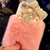 AiKeDuo for iPhone 6s Case Crystal Fluffy Cover Rex Rabbit Fur Case Winter Handmade Soft Crystal Case Bling Crystal Fur Shell Creative for iPhone 6 4.7' Inches Display (Pink) …