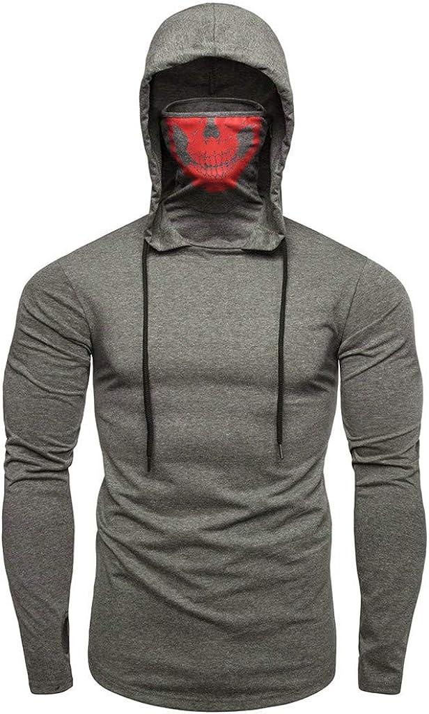 Mens Mask Finally popular brand Hoodie Skull Print Sleeve Pullo Long Hooded Sweatshirt Limited time cheap sale