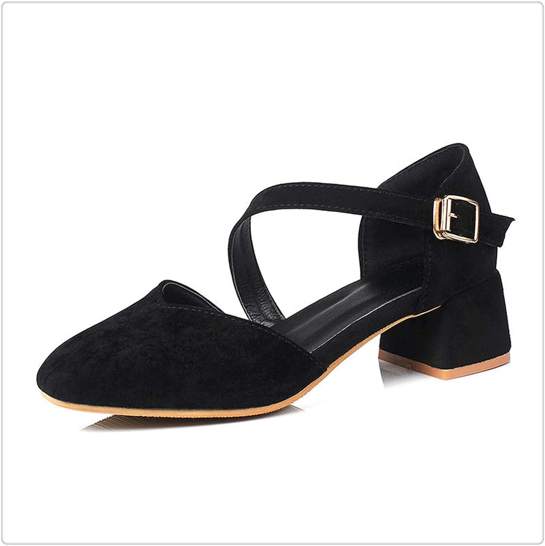 Msanlixian 2018 Summer Elegant Mixed color Sandals Women Big Size 30-43 Casual shoes Woman Med Hoof Heels Women shoes Black 10.5