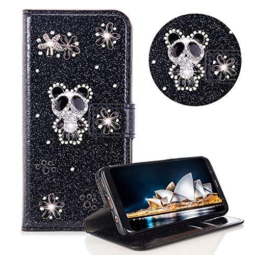 Glitzer Strass Brieftasche für Galaxy A6 2018,Schwarz Leder Handyhülle für Galaxy A6 2018,Moiky Luxus 3D Magnetisch Kristall Niedlich Panda Blumen Diamant Hülle mit Kartenfächer Ständer