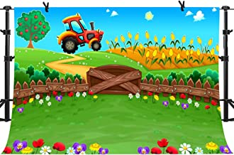 PHMOJEN Cartoon Farm Backdrop Big Tractor Colorful Flowers Apple Tree Corn Field Photography Background Vinyl 10x7ft Photo Shooting Props LHPH362