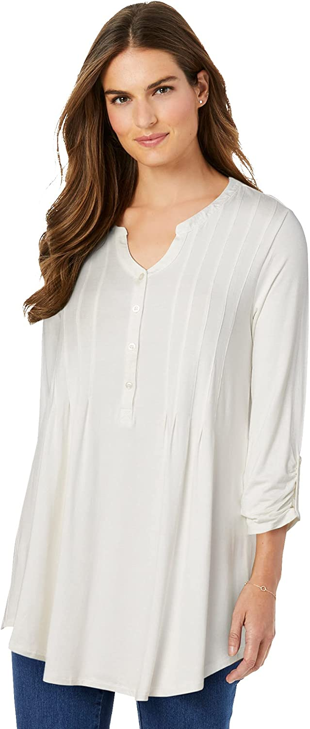 Woman Within Women's Plus Size Pleated Henley Top