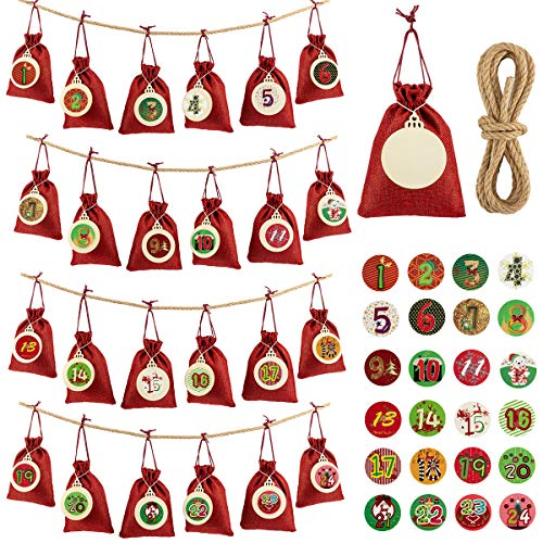ANPHSIN 24 Pcs Christmas Countdown Calendar Bags- 24 Days Burlap Hanging Advent Calender Countdown to Bags Sacks Garland for Holiday Xmas Home Office Party Decorations (Red)