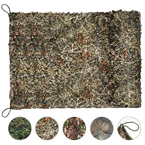 Yeacool Camo Hunting Blind Netting, Military Camouflage Tarp Rope Nets,Army Sunshade Fence Net,Lightweight Waterproof,Great for Car Cover,Party Decoration,Bedroom Decor(Dry Grass,6.5ftx10ft)