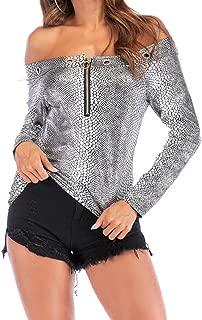 Gresanhevic Women's Front Zip Off Shoulder Snakeskin Long Sleeve Slimming Autumn Pullover Tops Tshirts Blouse