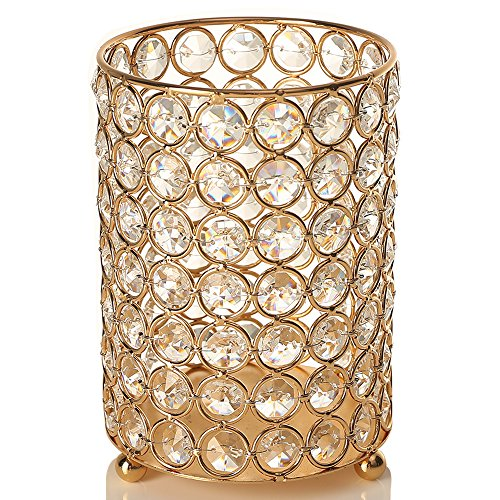 VINCIGANT Gold Crystal Votive Candle Holders/Candlestick with Warm White String Light for Wedding Centerpeices Home Decorations,Gift for Anniversary,6.3 Inches Tall