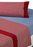 SABANALIA - Juego de sábanas Estampadas Shirt (Disponible en Varios tamaños y Colores), Cama 90, Rojo