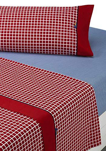 SABANALIA - Juego de sábanas Estampadas Shirt (Disponible en Varios tamaños y Colores), Cama 135, Rojo
