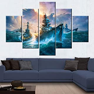 Ship Pictures for Living Room Warship Gunboat Paintings American Bald Eagle Wall Art 5 Panel Printed on Canvas Blue Ocean Artwork House Modern Decor Framed Gallery-Wrapped Ready to Hang(60''Wx40''H)