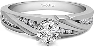 TwoBirch Sterling Silver Infinity Engagement Ring with Cubic Zirconia (0.49 ct. tw.)
