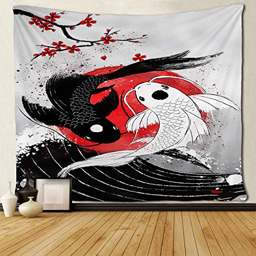 SARA NELL Tapestry Koi Fish - Yin Yang Tapestry Wall Hanging Tapestries Beach Throw Trippy Tapestries Decorative Bedspread Dorm Room Wall Hanging 50x60 Inches