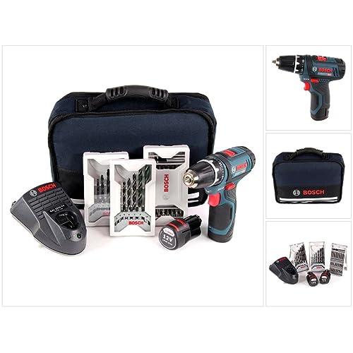 Bosch Professional 0615990GA9 GSR 10,8-2-LI Trapano Avvitatore a Batteria con Accessori, 10.8 V, Blu, Nero