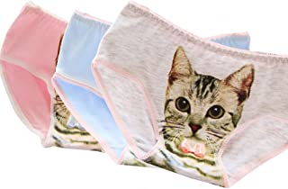 BOBORA ショーツ レディース 綿 セット 下着 パンツ 猫プリント 可愛い 見せパン 丈普通 響きにくい ローライズ レギュラーショーツ 3D猫パンツ ランジェリー ブリーフ 【3枚セット】