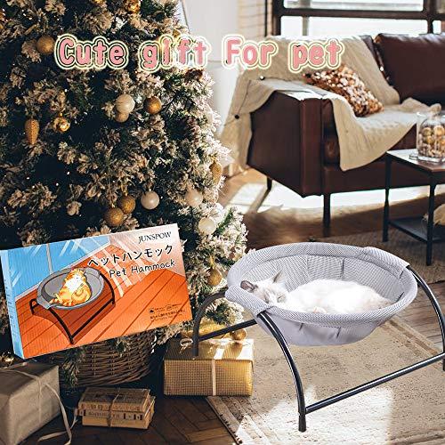猫ベッドペットハンモック犬猫用ベッド自立式猫寝床ネコベッド猫用品ペット用品丸洗い安定な構造取り外し可能通気性組立簡単室内戸外(グレー)