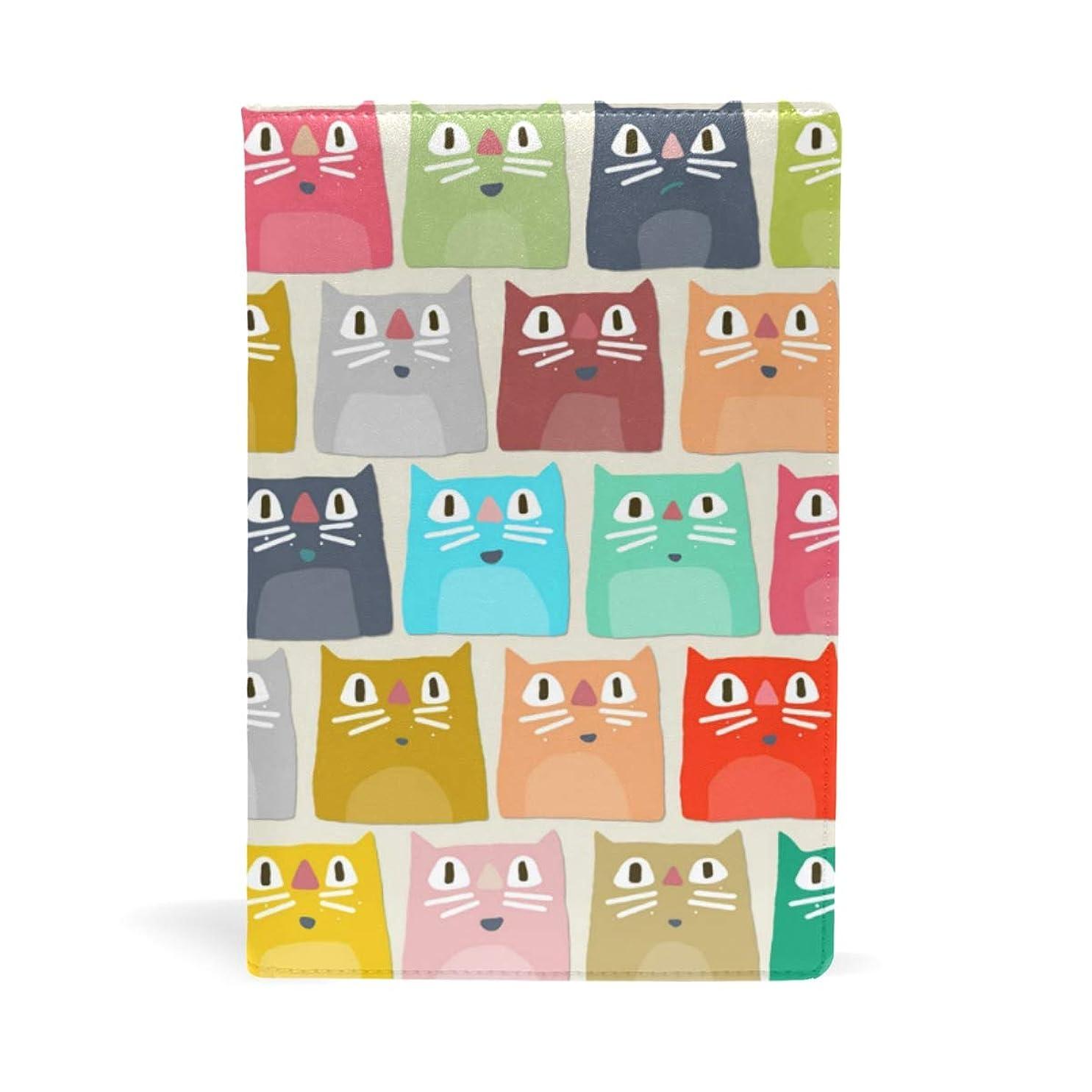 コロニー謙虚カラフルな猫の顔 ブックカバー 文庫 a5 皮革 おしゃれ 文庫本カバー 資料 収納入れ オフィス用品 読書 雑貨 プレゼント耐久性に優れ