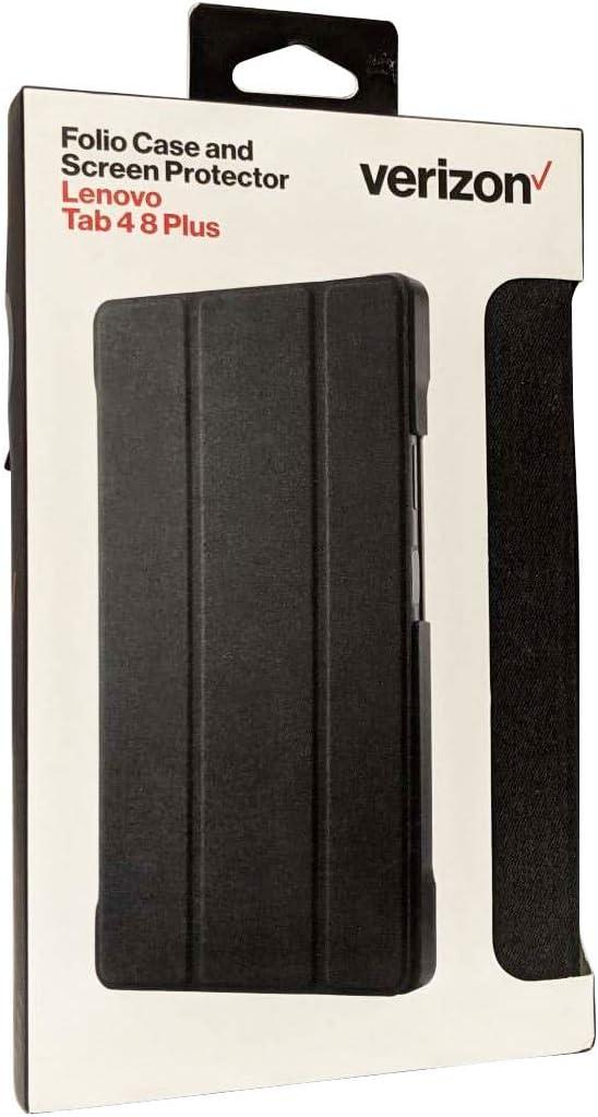 Verizon Folio Hard Case & Tempered Glass for Lenovo Tab 4 8 Plus - Black