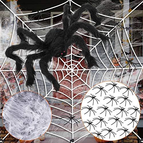 XDDIAS Halloween Spinnennetz, Elastizität Weißes Riesen Spinnweben mit 2 Große Schwarze Spinne Halloween Dekoration