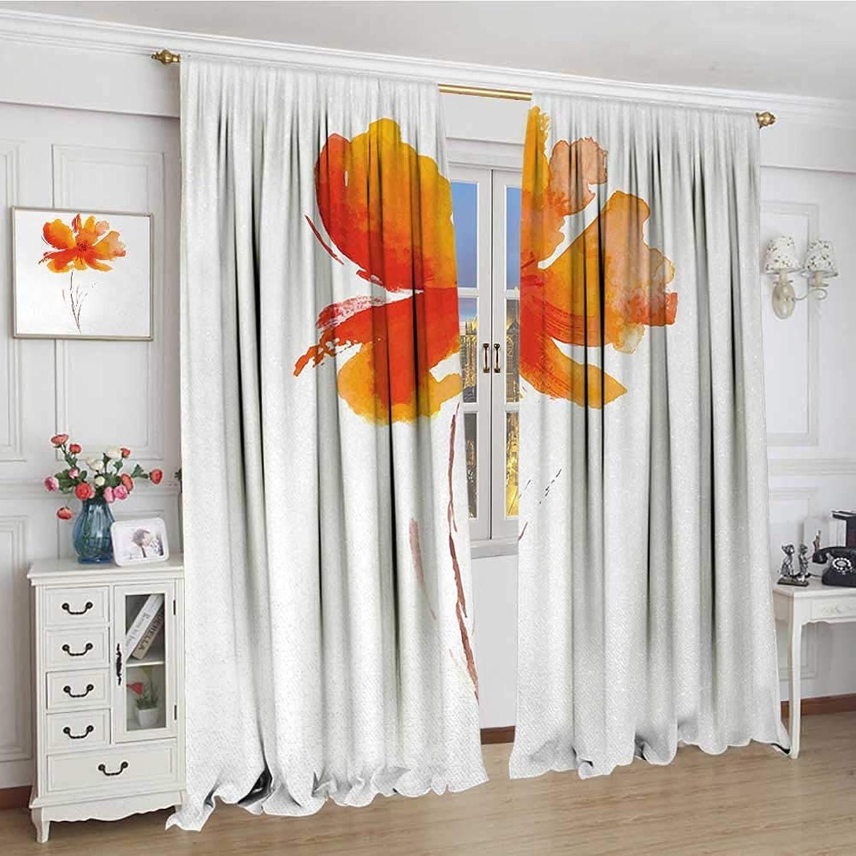 Smallbeefly Watercolor Flower Patterned Drape for Glass Door Single Poppy Flower on Plain Clear Background Nature Inspired Romantic Waterproof Window Curtain 84 x96  White orange