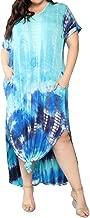 Womens Casual Maxi Short Sleeve Split Tie Dye Long Dress with Pockets
