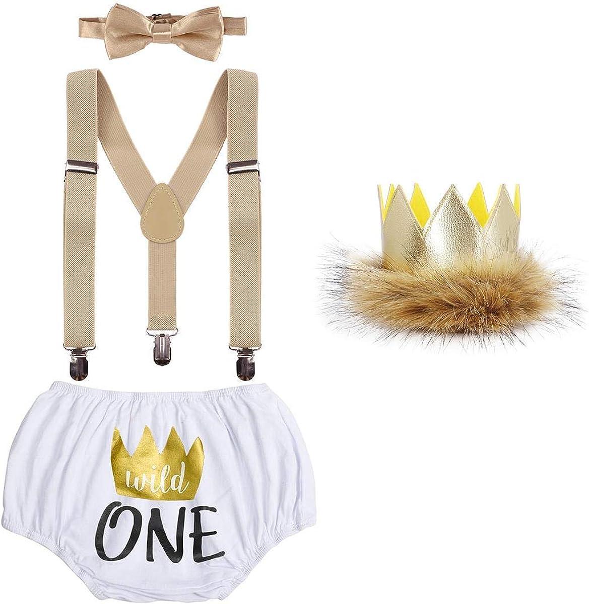 ODASDO Baby Boy 1st / 2nd Birthday Cake Smash Outfit Suspender + Bow Tie + Pants + Headband 4pcs Set Photo Props